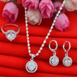 New 5Pc Sterling Silver Jewelry Set